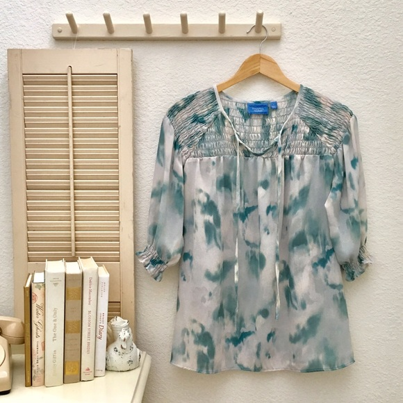 Simply Vera Wang Women/'s Shirt Ruffled Blouse Speckled Gray S//M//L NWT